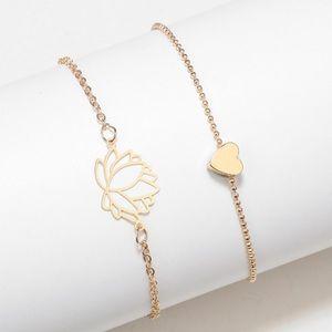 Dainty lotus and heart bracelet set